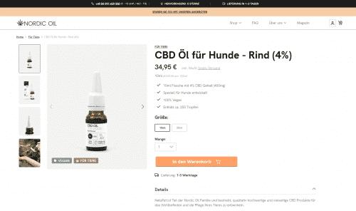 Screenshot von Nordic Oil CBD Öl für Hunde